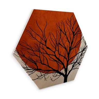 Hexagon - Holz Birke-Furnier - Kubistika - Warmer Sonnenuntergang