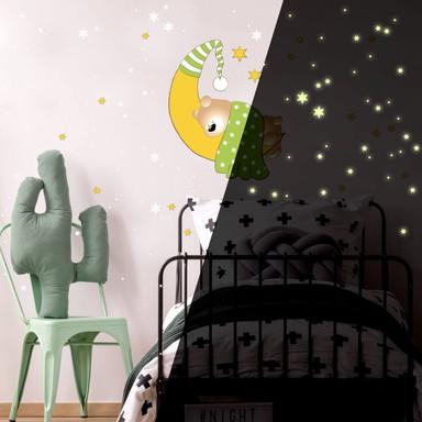 Wandsticker Bärchen, Mond und Sterne (grün) + Leuchtsterne