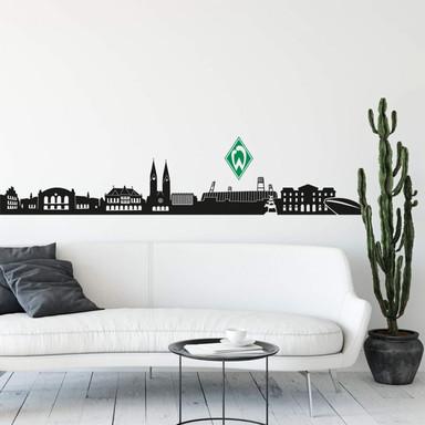 Wandtattoo Werder Bremen Skyline mit Logo farbig