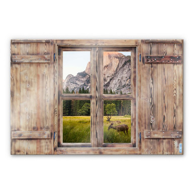 Glasbild 3D Holzfenster - Deers in the mountains