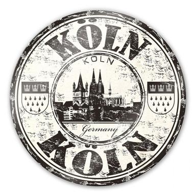 Glasbild Poststempel Köln - rund