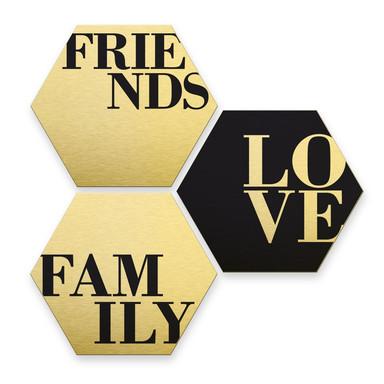 Hexagon - Alu-Dibond-Goldeffekt - Love, Friends, Family (3er Set)