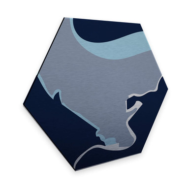 Hexagon - Alu-Dibond Silbereffekt Nordic Creators - Abstract Blue