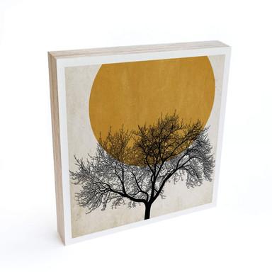 Holzbild zum Hinstellen - Kubistika - Wintermorgen - 15x15cm