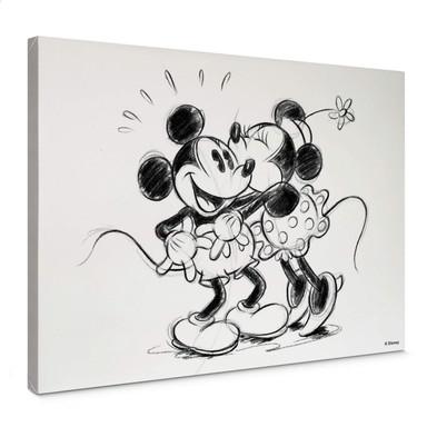 Leinwandbild Mickey Minnie Sketch Hugging - Bild 1