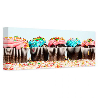 Leinwandbild Party Cupcakes - Panorama