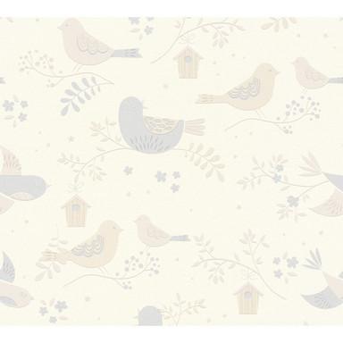 A.S. Création Tapete Boys & Girls 6 mit niedlichen Vögelchen beige, grau, weiss