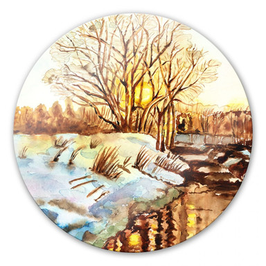 Glasbild Toetzke - Goldener Winter - rund