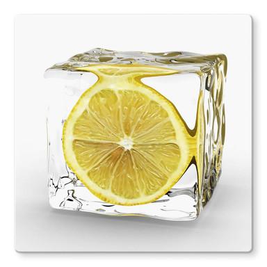 Glasbild Zitroneneiswürfel