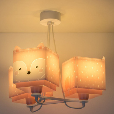 Kinderzimmer Pendelleuchte Little Fox in Pink 3-flammig E27
