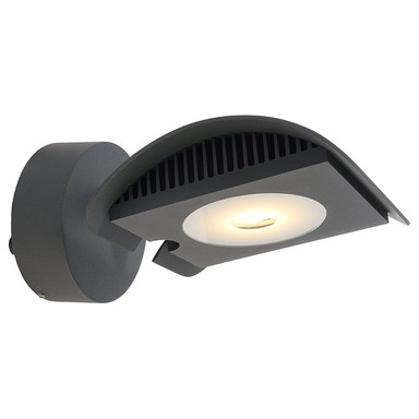 LED Wandleuchte Atis III in Dunkelgrau und Transparent 15W 1120lm IP55