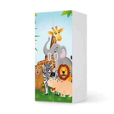 Möbelfolie IKEA Stuva / Fritids Schrank - 2 grosse Türen - Wild Animals