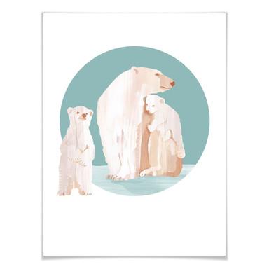 Poster Goed Blauw - Die Eisbärenfamilie
