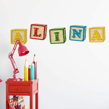 Wandtattoo & Name Bausteine Alphabet