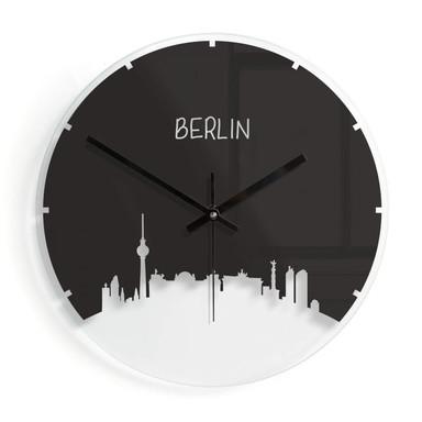 Wanduhr aus Glas - Skyline Berlin Outline - negativ Ø30cm