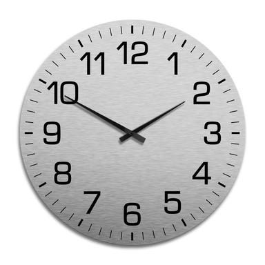 XXL Wanduhr Alu Dibond Silbereffekt - Klassisch mit Minutenanzeige Ø 70cm - Bild 1