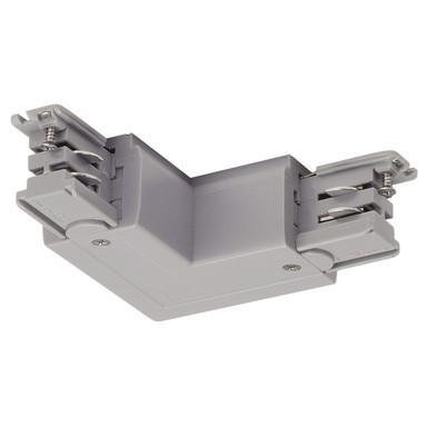 3-Phasen S-Track, Aufbauschiene, L-Verbinder, silber-grau, Schutzleiter links