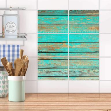 Fliesenfolie quer - Wooden Aqua