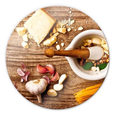 Glasbild Laercio - Pesto Rezept - rund