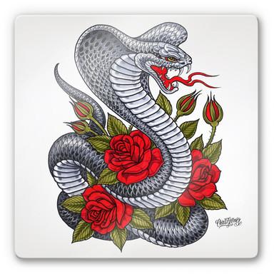 Glasbild Miami Ink Kobra mit Rosen