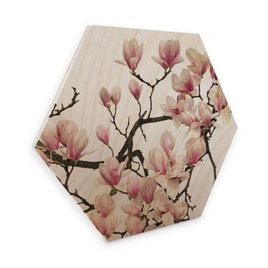 Hexagon - Holz Birke-Furnier - Kadam - Flora Magnolia