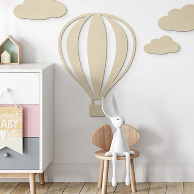 Holzdeko Pappel - Heissluftballon mit senkrechten Linien
