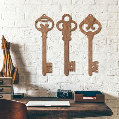 Holzkunst Mahagoni - Schlüssel (3er Set)