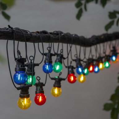 LED Party-Kette Small Circus Filament in Schwarz und Mehrfarbig 20-flammig IP44