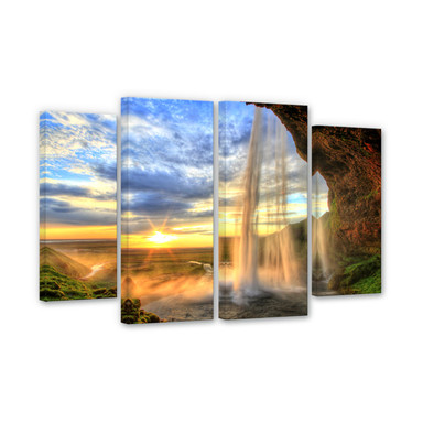 Leinwandbild Seljalandsfoss Wasserfall (4-teilig)