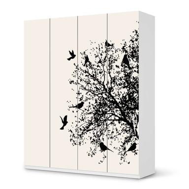 Möbelfolie IKEA Pax Schrank 236cm Höhe - 4 Türen - Tree and Birds 2
