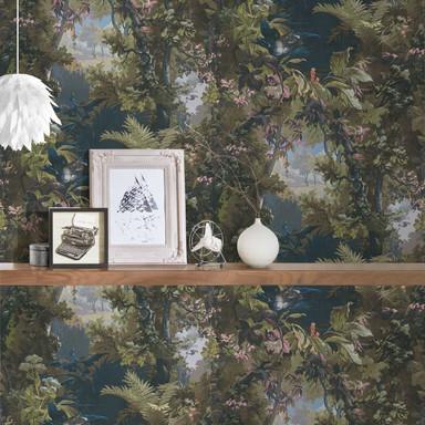 A.S. Création Vliestapete History of Art Waldtapete grün, blau, rosa