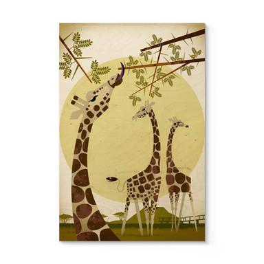 Holzposter Braun - Giraffes