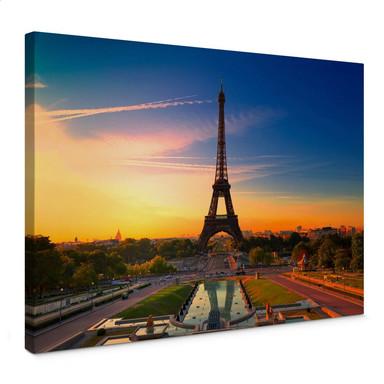 Leinwandbild Eiffelturm im Sonnenuntergang
