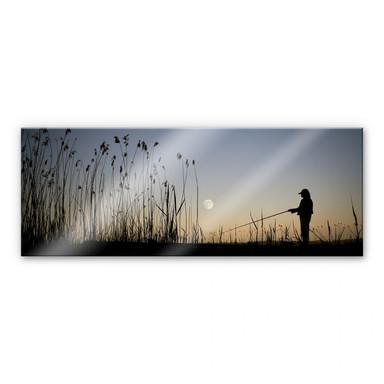 Acrylglasbild Angler im Mondschein - Panorama