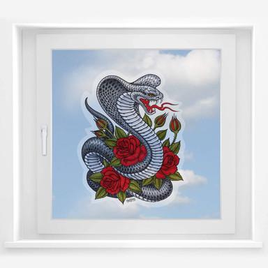 Fensterbild Miami Ink Kobra mit Rosen