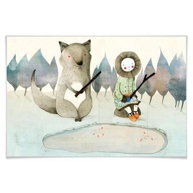 Poster Loske - Das kleine Inuitmädchen und der Wolf