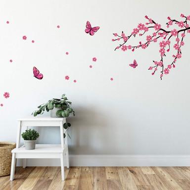 Wandsticker Kirschblüten mit Schmetterlingen