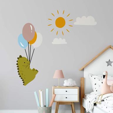 Wandtattoo Fliegender Dino mit Luftballons