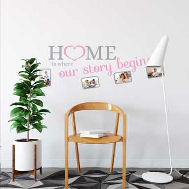 Wandtattoo Home is... 2-farbig mit Platz für Fotos