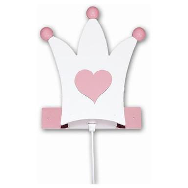 Märchenhafte Wandleuchte Krone in rosa-weiss
