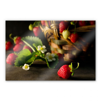 Acrylglasbild Erdbeerkörbchen