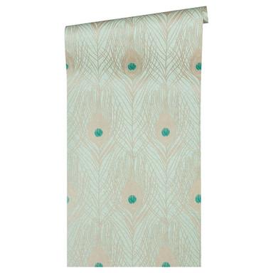 Architects Paper Vliestapete Absolutely Chic Tapete mit Pfauen Feder metallic, blau, grün