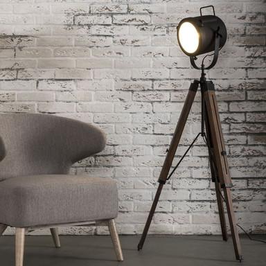 famlights | Stehleuchte Miriam aus Holz und Metall in Schwarz im Vintage Stil E27