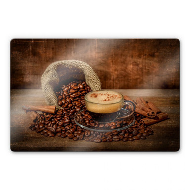 Glasbild Perfoncio - Kaffee rustikal