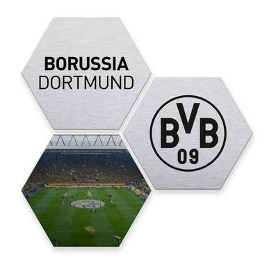Hexagon - Alu-Dibond-Silbereffekt - BVB - schwarz (3er Set) - Bild 1