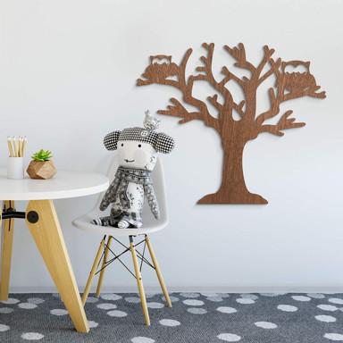 Holzkunst Mahagoni - Baum mit Eulen