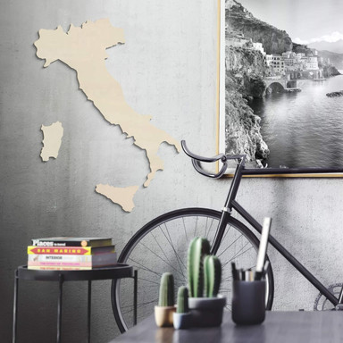 Holzkunst Pappel Furnier - Karte Italien