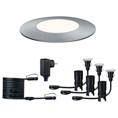 LED Plug & Shine 3er Komplettset Mini Bodeneinbauleuchte in silber 3x 2.5W neutralweiss IP65 55mm