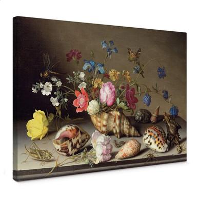 Leinwandbild Balthasar van der Ast - Blumen, Muscheln und Insekten auf einem Steingesims