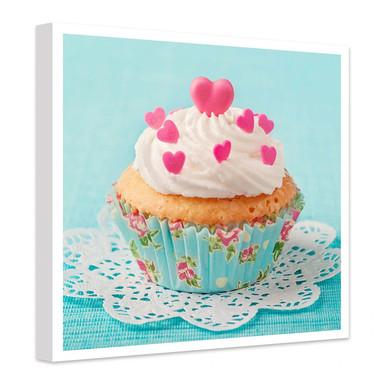 Leinwandbild Hearts on Cupcake